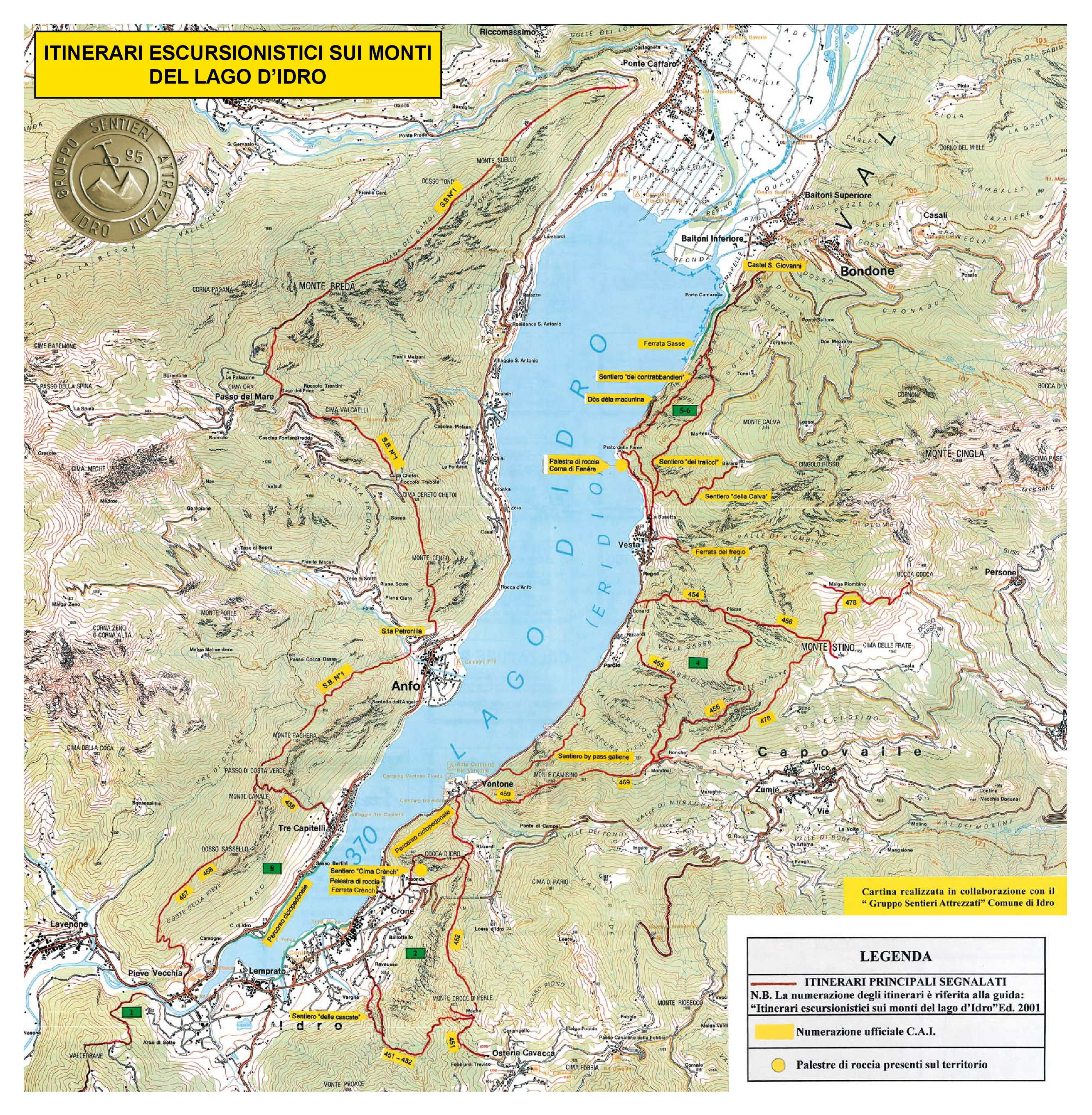 Hiking trail map of Lake Idro
